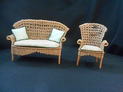 """Antique Doll House Furniture Wicker Sofa & Side Chair 3 1/4"""" Tall"""