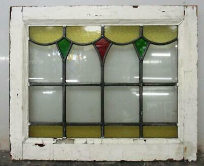 "OLD ENGLISH LEADED STAINED GLASS WINDOW Pretty Drop Design 20.5"" x 17"""