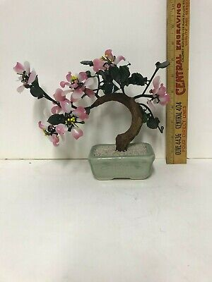 Vintage Chinese Bonsai Jade Glass Tree Pink White Blossoms
