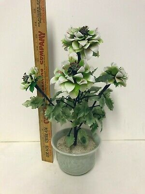 Vintage Chinese Bonsai Jade Glass Tree White Green Blossoms