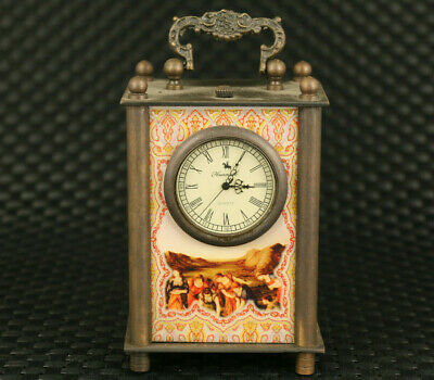 big Art unique chinese old copper mechanical movement table watch clock