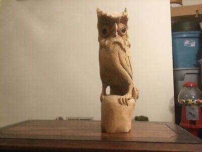"Beautiful Detailed 12"" Hand Carved Wood Owl"