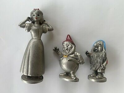 Set Of 3 Disney Snow White Figures -Solanger Pewter Collectables