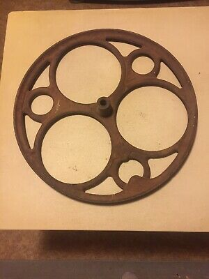 """Antique Cast Iron Wheel. 18in. 1 1/4 """"wide Off Of Old Washing Machine.  Photos"""