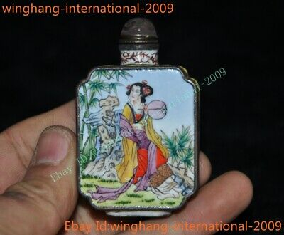 Chinese dynasty Bronze Cloisonne Ancient Belle beauty woman statue snuff bottle