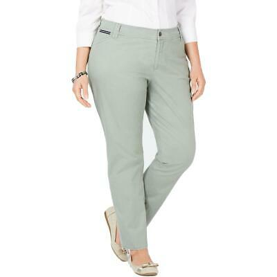 Charter Club Womens Green Slim Leg Mid Rise Chino Pants Plus 14W BHFO 0609