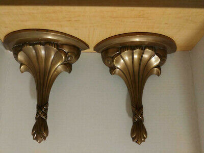 Vintage Pair Brass Ornate Hand Crafted wall Shelves / Brackets 8x10 inch Ex Con