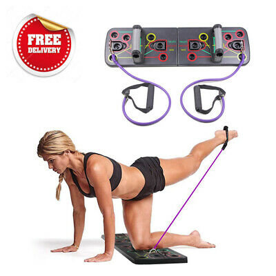 NEW 9 in1 Push Up Board With Yoga Resistance Bands Fitness Gym Pushup Stands