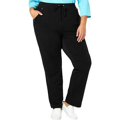 Karen Scott Sport Womens Black French Terry Pants Athletic Plus 2X BHFO 4031