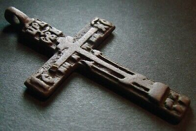 ANCIENT BIG BRONZE CROSS WITH PRAYER. ARTIFACT 18 - 19 CENTURY 58 mm (R.072)