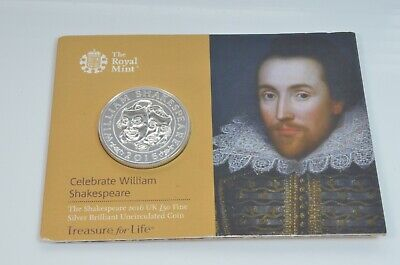 Royal Mint £50 silver coin William Shakespeare 2016 commemorative uncirculated