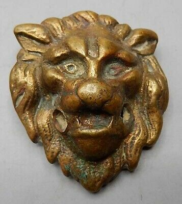 Antique 19th Century Cast Brass Very Figural Small Lion's Head Drawer Pull