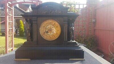 Antique 8 Day Mantel Clock Gong Striking Architectural Slate Mantle Clock