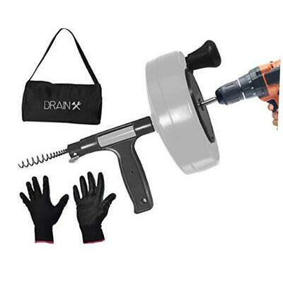 DrainX Power Pro 50-FT Steel Drum Auger Plumbing Snake with Drill Attachment |