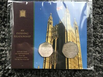 Sold out Brexit Royal Mint 2020 2 Coin Withdrawal From The EU 50p Set -Only 5000