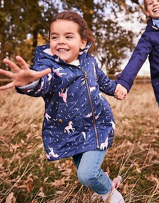 Joules Girls Raindrop Waterfall Raincoat  - NAVY UNICORN