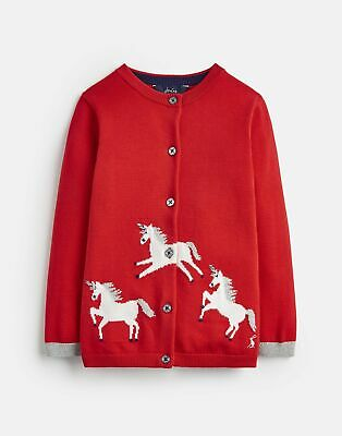 Joules Girls Madison Intarsia Cardigan  - RED GALLOPING HORSES