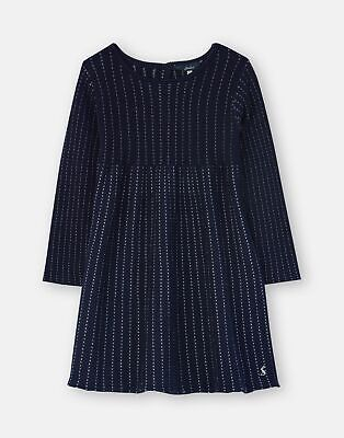 Joules Girls Millicent Knitted Dress  - NAVY SILVER