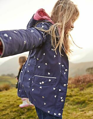 Joules Girls Parka 3 In 1 Waterproof Jacket  - NAVY HEARTS
