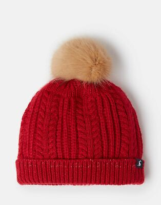 Joules Girls Bobble Hat - RED Size 3yr-7yr