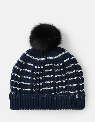 Joules Girls Bobble Hat - NAVY STRIPE Size 3yr-7yr