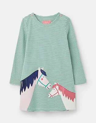 Joules Girls Kaye Applique Dress  - GREEN DOUBLE HORSE Size 1yr