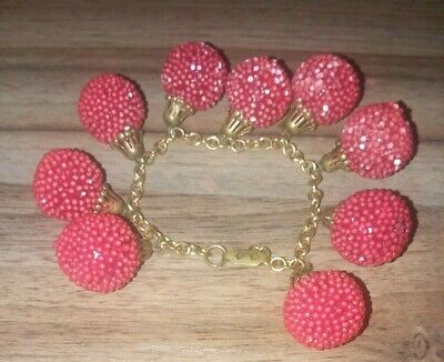 Antique very old yellow gold and red puff like ball bracelet exelent condition