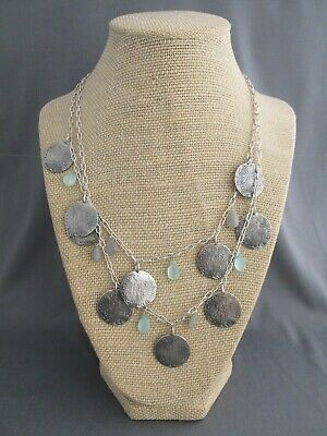 Vintage Sterling Double Strand Ancient Greek Coin Aqua Tear Drop Dangle Necklace