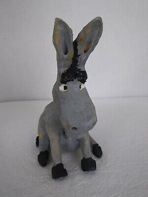 """Hand Carved Wood Donkey Ass Burro Mule * Hand Painted * 5"""" Tall"""