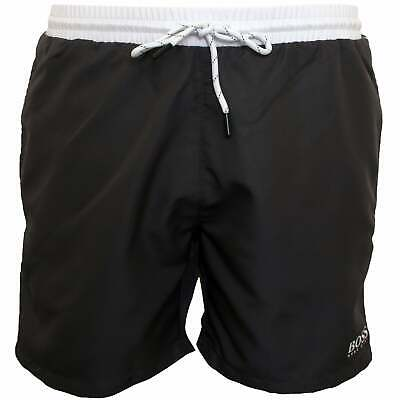BOSS Starfish Men's Swim Shorts, Charcoal with white contrast