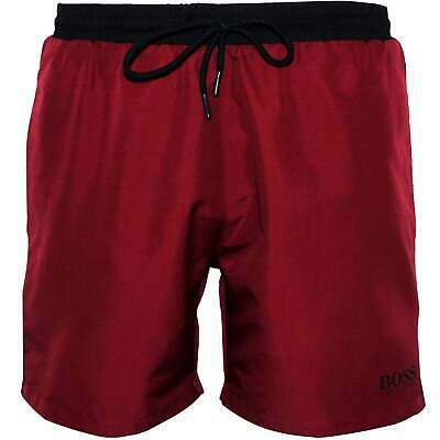 BOSS Starfish Men's Swim Shorts, Claret with black contrast