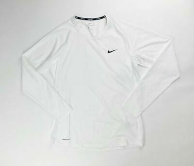 Nike Pro Long Sleeve Shirt Fitted Training Top Dri-FIT Men's Large White CJ0963