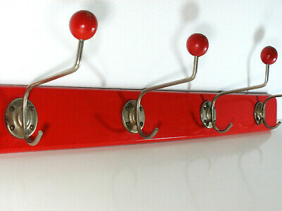 1930/50s ART DECO WAND GARDEROBE HOLZ / METALL COAT RACK VINTAGE