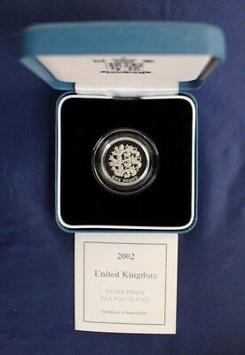 2002 Silver Proof £1 coin in Case with COA    (V10/6)