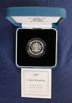 2003 Silver Proof £1 coin in Case with COA    (V10/7)