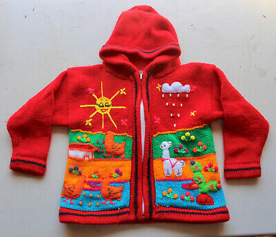 Vintage Childs Handmade Red Knit Sweater Embroidered Kids Farm Animal Jacket