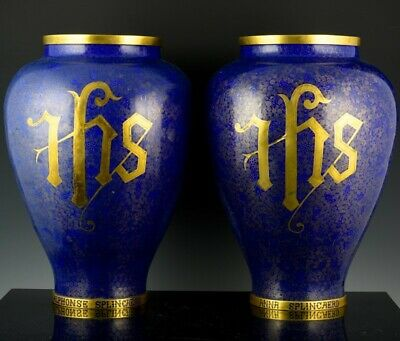 LARGE 19c CHINESE CLOISONNE ENAMEL GOLD GILT BRONZE CATHOLIC EMBLEM LARGE VASES