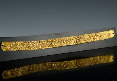 Interesting Very Old 22K Gold Etruscan Or Roman Figural Belt Head Dress Crown