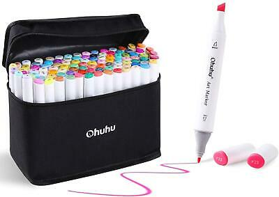 1O0 Colours Ohuhu Marker Pens Dual Tips Permanent Art Highlighter Kids Drawing