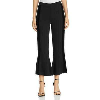 Kobi Halperin Womens Black Velvet Trim Flare Night Out Cropped Pants S BHFO 3904