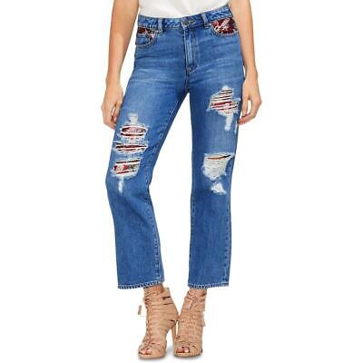 Vince Camuto Womens Blue High Rise Ankle Straight Crop Jeans 27 4 BHFO 2826