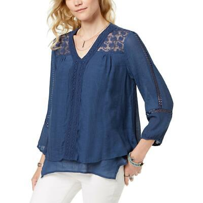 Style & Co. Womens Blue Lace Trim Sheer Pullover Top Shirt XL BHFO 0516
