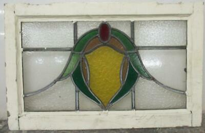 "OLD ENGLISH LEADED STAINED GLASS WINDOW Pretty Abstract Design 23.75"" x 15.5"""