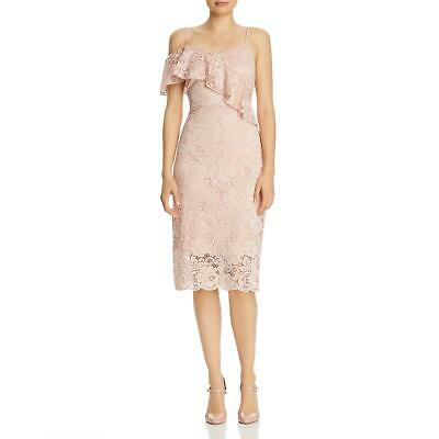 Sam Edelman Womens Pink Lace Ruffled Cold Shoulder Cocktail Dress 4 BHFO 6010