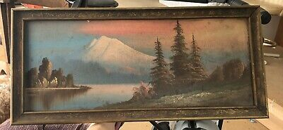 Great Depression Trade Trench Art Painting Framed 11 X 24  Pacific NW Antique