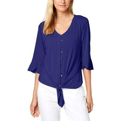 NY Collection Womens Blue V-Neck Tie Button-Down Top Shirt Petites PM BHFO 8748
