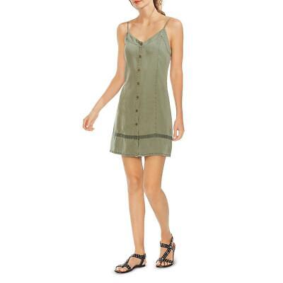 Vince Camuto Womens Green Tencel V-Neck Snap Front Casual Dress XL BHFO 6441