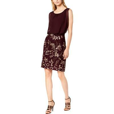 Calvin Klein Womens Purple Chiffon Embroidered Party Cocktail Dress 16 BHFO 8242