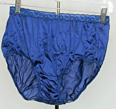 Vintage Hanes Her Way Shiny Semi Sheer Nylon Full Cut Granny Briefs Panties sz 7