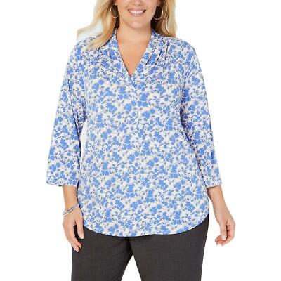 Charter Club Womens Blue Floral Print Pleated Blouse Top Plus 0X BHFO 7187